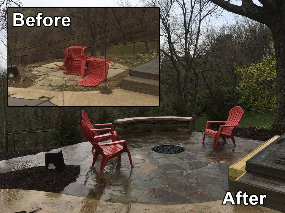 Firepit before and after